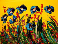 BLUE FLOWERS by Mark Kazav  Abstract Modern CANVAS Original Oil Painting NR34ERT