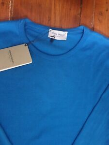 JOHN SMEDLEY HATFIELD Mens Statice Blue Cotton Pullover Size Small BNWT RP £150