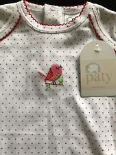 Paty Inc NWT Pima Gown Red & White Polka Dots & Embroidery -0-3 Months