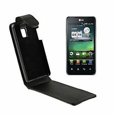 COVER FLIP CASE per LG P990 OPTIMUS ECO PELLE FODERO SLIM SOTTILE CUSTODIA NERO