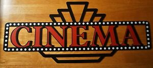 LARGE 2 FOOT CINEMA MARQUEE SIGN Entertainment Room Movie Film Artwork Decor NEW