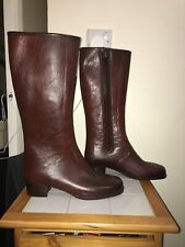 Vintage Rubber Fur Riding Boots Wellingtons Cognac Brown Israel UK 5 Waterproof