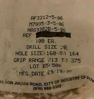 AF3212-5-6 rivets M7885/3-5-06 ALLFAST drill size 20 lot of (100) pcs (1) bags