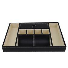 Decorebay Black PU Leather Valet Storage Tray/Charging Station Organizer