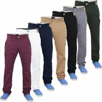 Men Chino Jeans Regular Fit Stretch Cotton Rich Twill Trousers Pants Waist 32-40