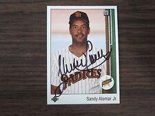 1989 Upper Deck #5 Sandy Alomar Jr Autographed / Signed Card C) San Diego Padres