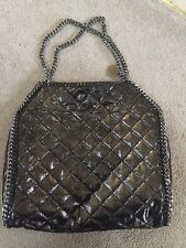 Auth $1200 Stella McCartney Falabella Quilted Metallic Tote Black New Large