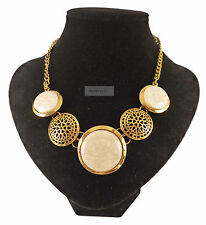 Gold White Beige Vintage Tribal Decorative Elegant Marble Necklace