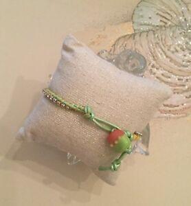 Artisan tropical beach lampwork bead~ Rhinestone~seafoam pearl Leather