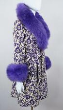 Vtg NOS 1960's Carpet TaPeStrY Purple SHEARLING TriMMeD HiPPiE BoHo GLaM Coat M