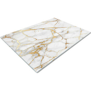 Glass Chopping Cutting Board Work Top Saver Large White Gold Marble Effect
