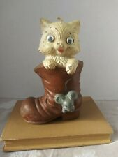 Vintage Kitten Kitty Cat Mouse Boot Wax Candle Googly Google Eyes Unique Kitsch