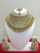 Indisch Bollywood Hochzeit Modeschmuck Vergoldet Halskette Ohrring Schmuck Set