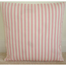 "16x16 Pink Cushion Cover Stripes 16"" Pink and Ivory Cream Striped Pillow Covers"