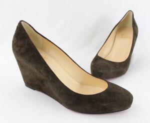 Christian Louboutin Women's Brown Suede Almond Toe Wedge Heel Shoe Size 38 8