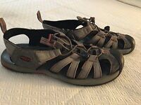 Keen Mens Size 10.5 US Waterproof Hiking Work Sandals Gray Red