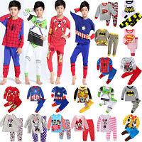 US Cartoon Kids Toddler Baby Boys Girls Costume Pyjamas Pajamas Sets Sleepwear