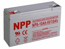 NPP 6V 10Ah Rechargeable SLA Battery Replaces Yuasa NP10-6, KMG-10-6