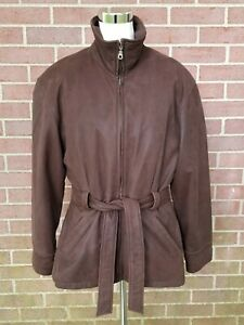 Women Leather Limited Jacket Brown Belted Removable Lining Size S