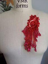 "7"" FANCY FRINGE Bead & Sequin Applique - RED"