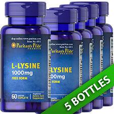 Puritan's Pride L-Lysine 1000 mg 5 X 60 Pills USA - Amino Acid (as L-Lysine HCI)