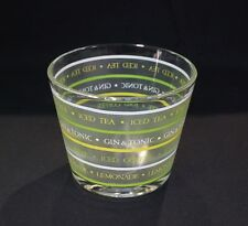 Ice Bucket, Vintage, Yellow & Green Graphics of Drinks.