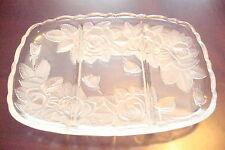 "Glass Tray  three divisions, with frosted roses, 12"" by 8 1/2""[10-2"