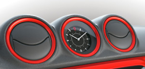NEW Genuine Suzuki VITARA Dash board RED Clock BEZELS 990E0-54P74-ZCF SET of 5