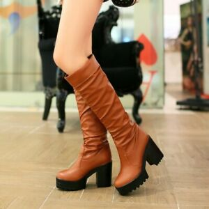 Women Platform Knee High Boots Round Toe Chunky High Heels Casual Long Boot Shoe