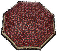 Sourpuss LEOPARD CHERRIES Umbrella BLACK RUFFLE Trim Retro Pinup