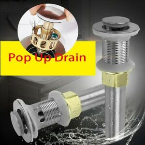 Bathroom Sink Drain with Overflow Vanity Pop Up Drain Stopper Assembly Vessel