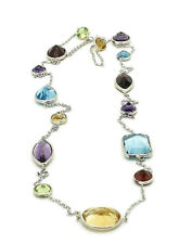 14K White Gold Necklace With Multi-Shaped Gemstones By The Yard 18 Inches