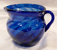 Cobalt Blue Art Glass Hand Blown Glass Creamer Pitcher Wide Mouth Applied Handle