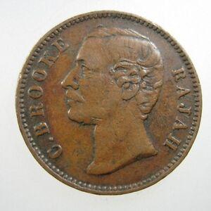 SARAWAK 1/2 CENT 1870 COPPER SCARCE #O SHARP RAJAH C BROOKE MALAYSIA MONEY COIN