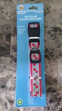 "Greenbrier Kennel Club Red/Gray Adjustable Nylon Dog Collar -bone design 14""-20"""