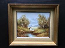 Braukmüller Gemälde Ölgemalde Idylle Landschaft am Fluß,  m. Rahmen Picknick