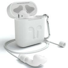 Für Apple Airpods Silikonhülle Case Kopfhörer Tasche Schlüsselanhänger Weiß