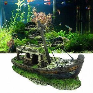 Aquarium Fish Tank Landscape Pirate Ship Wreck Ship Decor Resin Boat Ornament