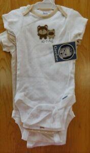 Gerber 5-pc Baby Boy ONESIES Bodysuits Beige Brown Bear Theme 3-6 Mo~NEW