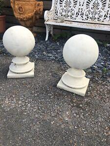 Pair of Stone Pier Balls Gate Post balls