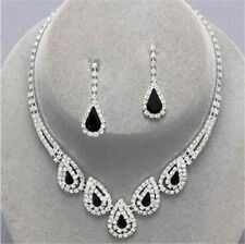 Crystal Diamante Wedding Bridal Necklace Earrings Jewellery Set Black Drop Party