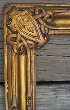 Antique ARTS & CRAFTS CARVED GILT WOOD PICTURE FRAME LARGE