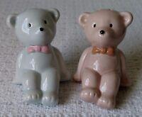 Cute Vintage Teddy Bear Salt and Pepper Shaker Set ~ One Pink ~ One Blue  ~ EUC
