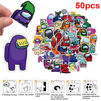 50pcs Cartoons Among Us Stickers Game Anime Stikers Skateboard Guitar Laptop Toy
