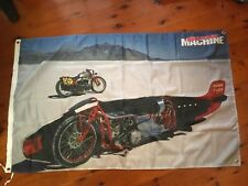 Indian motor cycle man cave pool room flag wall hanging Biker USA worlds fastest