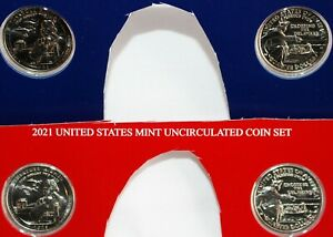 2021 P and D America the Beautiful BU Quarters 4 ATB Park Coin Set Blister Pack