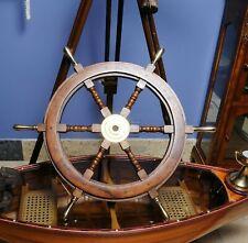 Antique Brass Nautical Marine Wooden Ship Wheel Wall Hanging Decoritive Gift