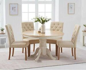 120 Cm Round Oak Table + 6 Cream Chairs