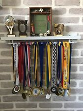 🥇DOUBLE Medal Hanger & Trophy Shelf Running Football Cricket Swimming - White🥇