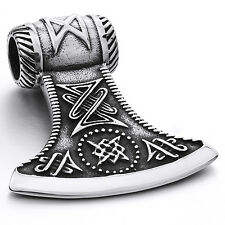 MENDINO Large Men's Stainless Steel Pendant Necklace Hammer Axe Viking Silver